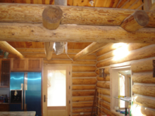 Interior of log HOme Being Constructed
